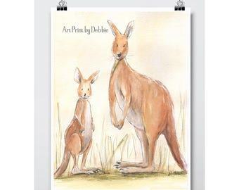 Nursery Wall Art, Baby Animal Prints, Austrailian Baby Animals, Kangaroo Mum and Joey, Kids Art, Aussie Baby Nursery Art, Childrens Prints