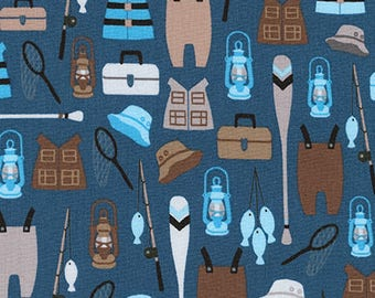 Fishing Fabric, Quilting Cotton, Adventure print, Brawny Bears Collection, Camping, Hiking, Robert Kaufman Fabrics,Boy quilt, Premium cotton