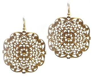 Gold Filigree Earrings/Vintage gold drop dangle earrings/ Costume jewelry/ gift idea for women/ Drop Earrings/ Large  Round flat Filigree