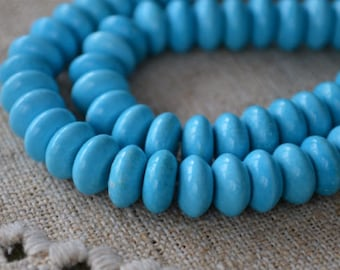 10x5mm Rondelle Turquoise Blue Magnesite Natural Gemstone Beads 16 Inches Strand