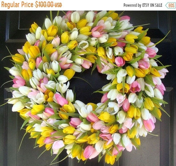 SUMMER WREATH SALE Spring Wreath- Mother's Day Wreath- Spring Decoration- 20 inch Custom Tulip Wreath- Spring Wreath for Door  The Original