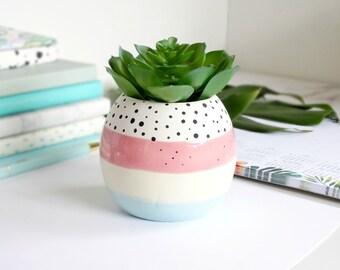 Small Pastel Stripe Planter, Succulent Planter, Cactus Planter, Mini Planter, Plant Lover Gift, Desk Planter, Modern Planter, Pastel Decor