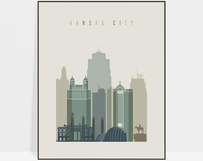 Kansas City print, Wall art, Kansas City skyline, Kansas City poster, Typography art, Home Decor, Travel decor, Gift, ArtPrintsVicky