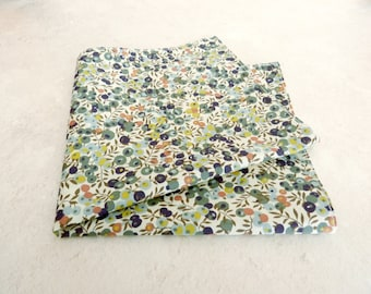 Green Pocket Square - Liberty Pocket Square - Wedding Handkerchief - Floral Pocket Square - Blue Handkerchief - Best Man Gift - Fathers Day