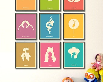 """Pixar Minimalist Poster Set - Monsters Inc, A Bug's Life, Toy Story, The Incredibles, Finding Nemo, Up, Wall-E, Brave and Ratatouille 8""""x10"""""""
