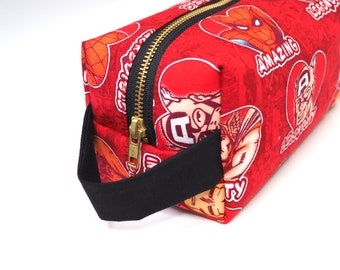 Sweet Avengers Large Boxy Bag with Metal Zipper - Makeup Bag / Pencil Bag/Toiletry Bag