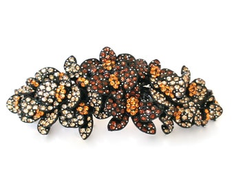Large Crystal Butterfly Cluster Hair Barrette Clip Accessory Ponytail Holder Black Plated Amber Topaz Brown