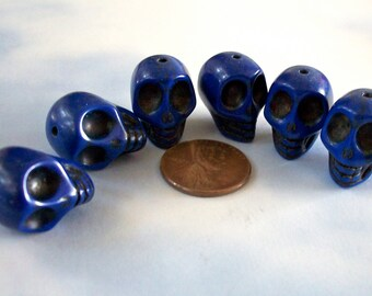 Skull Cobalt Blue Howlite Stone Beads Craft, Jewelry Supply