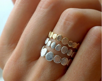 14k Gold and Sterling Silver Pebble Stacking Rings Set| Nature Inspired Rings