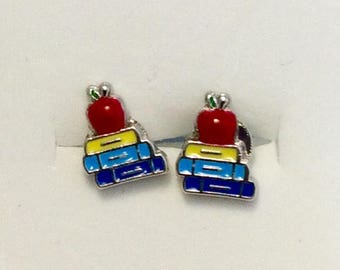 Student, pupil, teacher earrings, books with Apple
