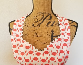 Reversible Coral Crabs with Ivory Fabric Full Length (Adult Sweetheart or Bib and Adult Plus Sizes, Child, Baby & Doll)
