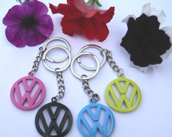 VW Emblem Color Logo Badge Metal Keyring Campervan Bus Beetle Keychain Volkswagen