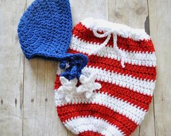 Newborn Photo Prop - Patriotic Baby - Newborn Swaddle Sack - 4th of July Photo Props - Swaddle Set - Newborn Bonnet - Baby Bonnet