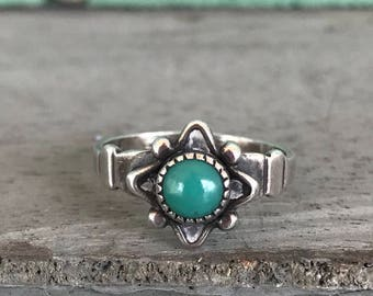 Size 4.25 Bell Trading Post Sterling Silver Greenish Turquoise Ring