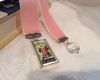 New Pink Velvet Ribbon Bookmark with Fairy Godmother print  in glass  with Silvertone Frame Charm and Vintage Faceted Chandelier Crystal