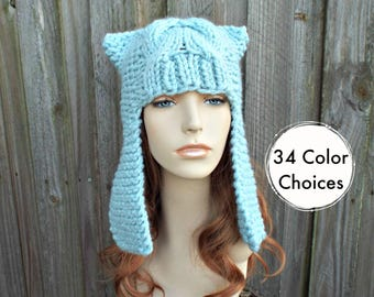 Womens Ear Hat Chunky Knit Cable Beanie Glacier Blue Ear Flap Hat  - Dragon Slayer - Womens Knit Accessories Winter Hat - 34 Color Choices
