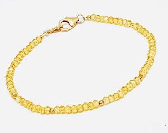 Natural zircon bracelet, beaded zircon bracelet, 925 sterling silver bracelet, gold vermeil