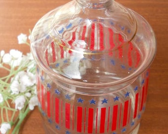 Stars Stripes Glass Lidded Container Vintage