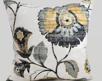 Farmhouse Floral Mustard Yellow Gray Decorative Throw Pillow Cushion Cover French Country Cottage Decor Lumbar Accent Chair Toss / All Sizes