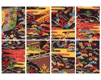 antique Japanese paper, printable digital download, collage sheet no. 195.