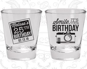 25th Birthday Shot Glass, Smile, its your birthday, vintage camera, Birthday Shot Glass, Birthday Glass (20053)