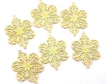 Gold plated filigree links, bright gold flower connectors, gold plated brass flowers, components for jewelry making, 26mm x 20mm