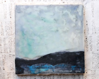 Shabby Chic, Marion Memorial Bridge Art: Encaustic Mixed Media