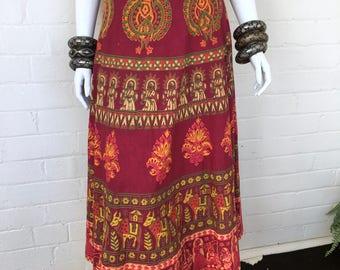 Vintage Block print Indian Wrap Skirt  / India Maxi Skirt / Ethnic Hippie Boho Cotton Tribal Festival Skirt