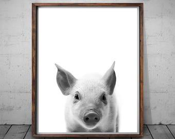 Pig Decor, Pig Print, Pig Photo, Printable Art, Pig Wall Art, Farm Animals, Black And White Pig, Art Print, Wall Art Decor, Digital Download