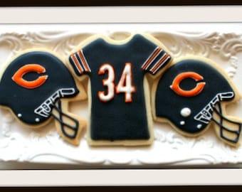 Custom Decorated Chicago Bears Sugar Cookies