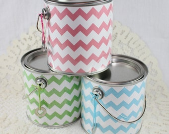 Green Chevron Bitty Buckets