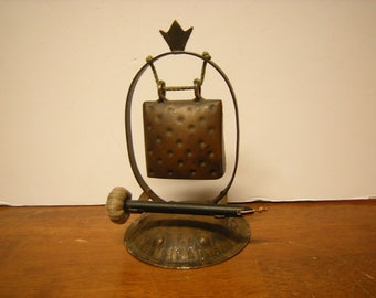 vtge mini gong-dinner bell-copper gong-home and living-home decor-sideboard decor-