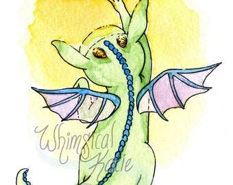 Playful Baby Dragon and Fairy Greeting Card