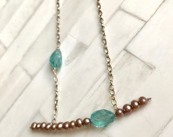 Apatite, Freshwater pearls and 14K gold fill bar necklace