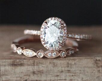 C&C Moissanite Engagement Ring Set Forever One 6*8mm Oval Cut Moissanite Ring Art Deco Half Eternity Wedding Ring 14K Rose Gold Ring Set