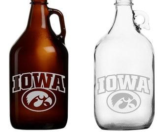 Iowa - Beer Mug - Pint Glass - Growler - Etched - Hawkeyes