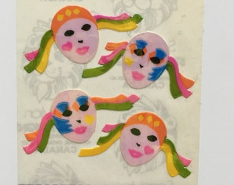 Vintage Sandylion Rainbow Pierrot Clown Pearl Stickers