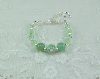 Baby girl bracelet, Green crystal bracelet, Rose bracelet, Baptism bracelet, Infant bracelet, Aventurine bracelet, Baby Bracelet, Green Rose