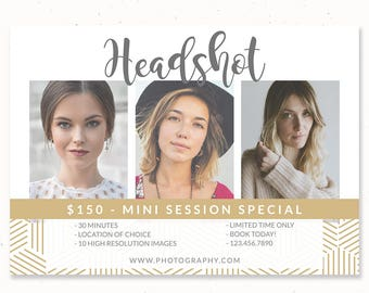 Headshot Marketing Template, Headshot Photography, Head Shot Photo, Mini Session Template Photographers, Photography Marketing Card, m204