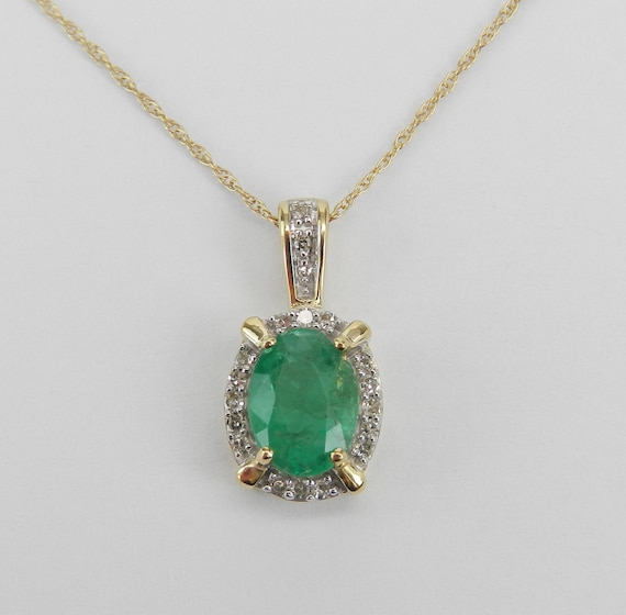 "Yellow Gold Emerald and Diamond Halo Pendant Necklace 18"" Chain May Birthstone"