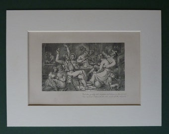 Original 1872 Print From Robert Burns' Jolly Beggars - Sodger Laddie - Black & White Picture - Matted Ready To Frame - Pub - Drinking Den