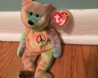Retired Original Peace Bear TY Beanie Baby reduced 4th of JULY SALE