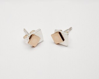 Tana by Fedha - ingenious and understated movable geometric sterling silver and yellow gold stud earring