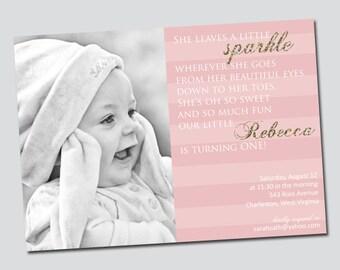 Sparkle Pink & Gold Glitter Girl's Birthday Invitation