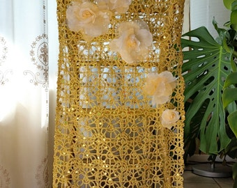 Gold Lattice Chair Covers with Floral Decoration
