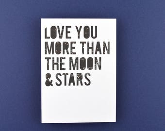 One of a Kind // Original Nursery Art // Unique Romantic Anniversary Gift, Love You More Than the Moon and Stars