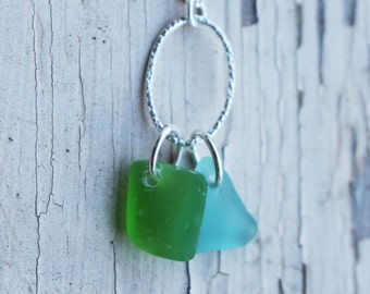 Green & Aqua Sea Glass with Silver Chain