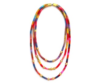 Layered Textile Statement Necklace For Women, Colorful Fabric Necklace With Brass, Multi Strand Rope Necklace For Her