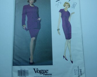 Vintage Vogue Designer Original  Pattern 2827 Jacket and Dress by Genny Misses Size 14 Factory Fold