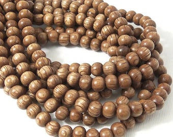 Banded Magkuno Wood Beads, 6mm, Cocoa Brown, Round, Smooth, Small, Natural Wood Beads, 16 Inch Strand - ID 1044-BD
